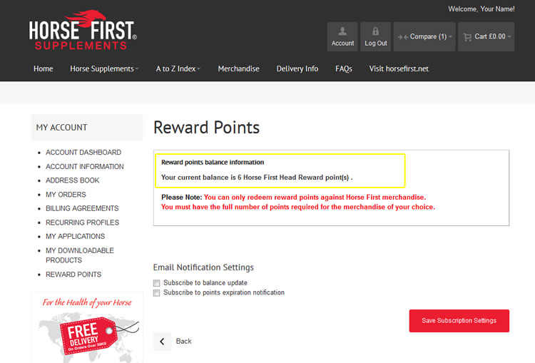 Check Your My Horse First Reward Points Balance
